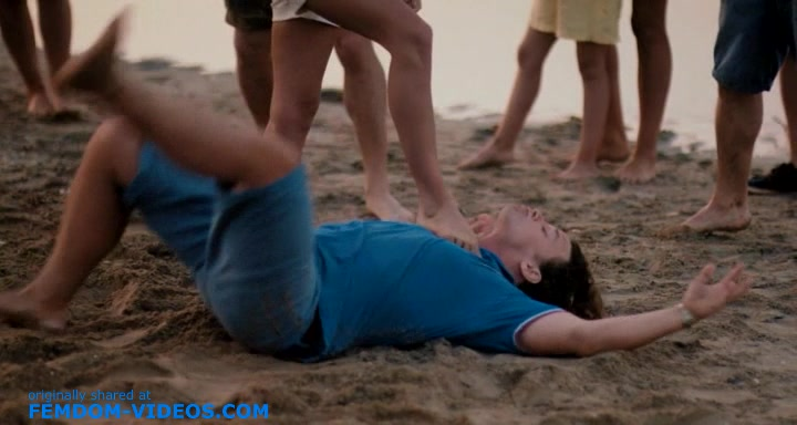 Mixed wrestling, hand trampling and victory pose from a Russian movie