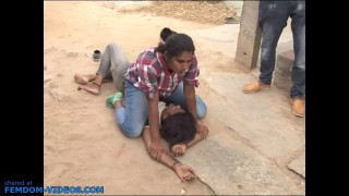 Public female wrestling in gladiator-style Indian reality TV show